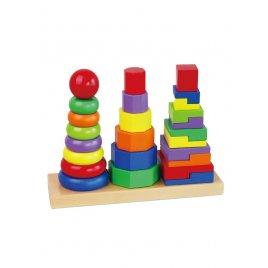 Viga Dřevěné barevné pyramidy pro děti