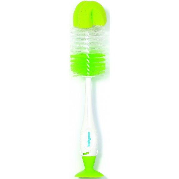BabyOno Kartáč na čištení lahví a saviček 2v1 s přísavkou Zelený