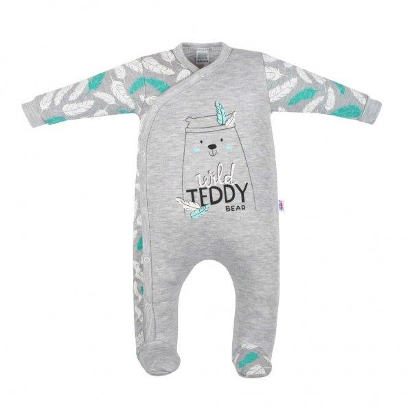 New Baby Kojenecký bavlněný overal New Baby Wild Teddy Šedá
