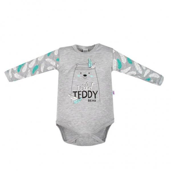 New Baby Kojenecké body s dlouhým rukávem New Baby Wild Teddy Šedá