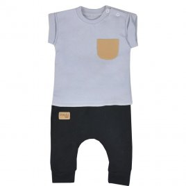 Koala Kojenecké tepláčky a tričko Koala Summer Boy černo-šedé