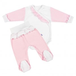 New Baby 2-dílná kojenecká souprava New Baby Puntík II bílo-růžová