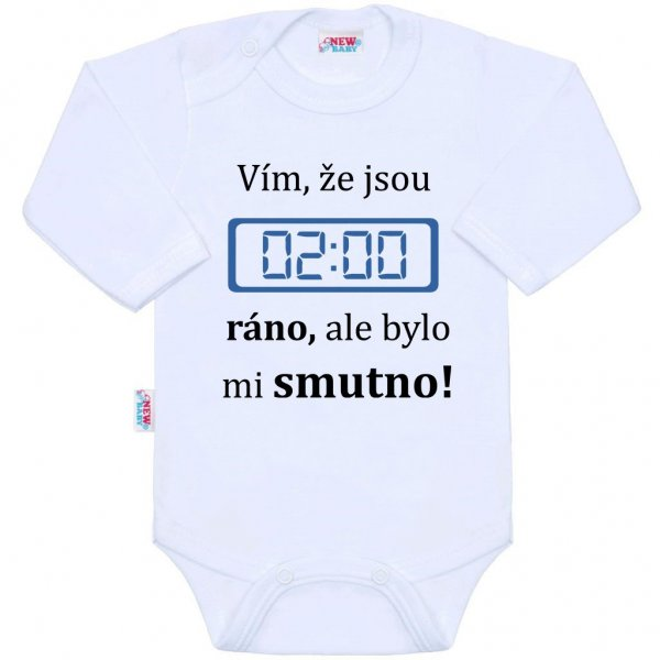 New Baby Body s potiskem New Baby 02:00 ráno Bílá