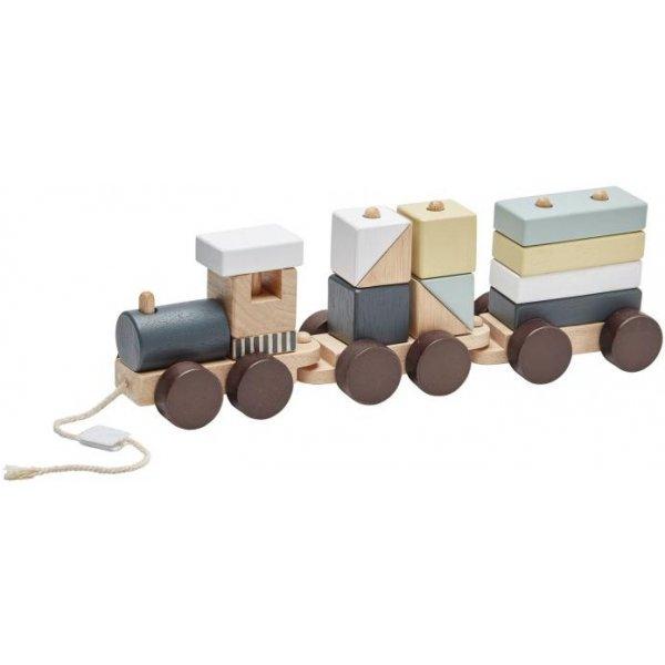 Kids concept Vlak z kostek Neo dřevěný Hnědá