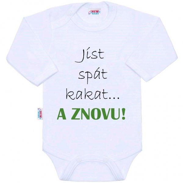 New Baby Body s potiskem New Baby jíst spát kakat... A ZNOVU! Bílá