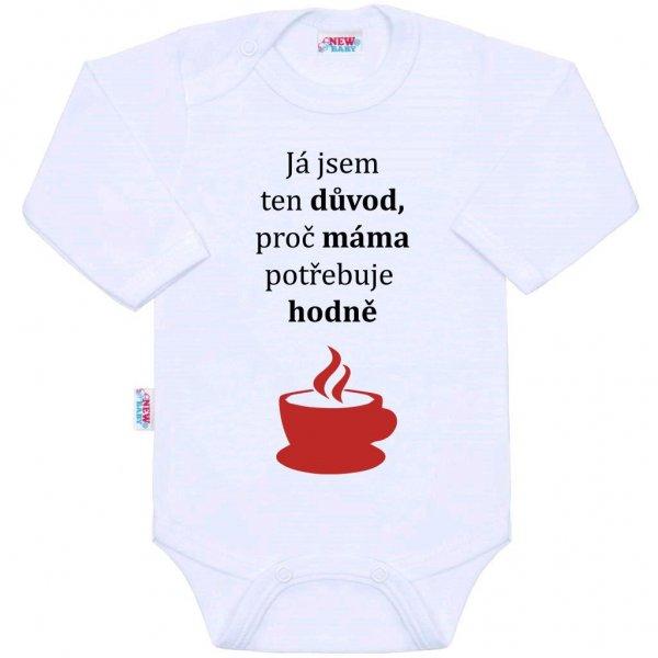 New Baby Body s potiskem New Baby ...hodně kávy... Bílá