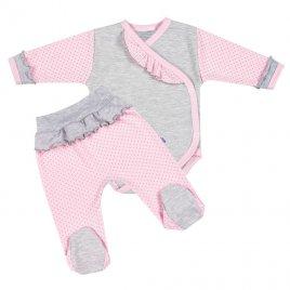 New Baby 2-dílná kojenecká souprava New Baby Puntík II šedo-růžová