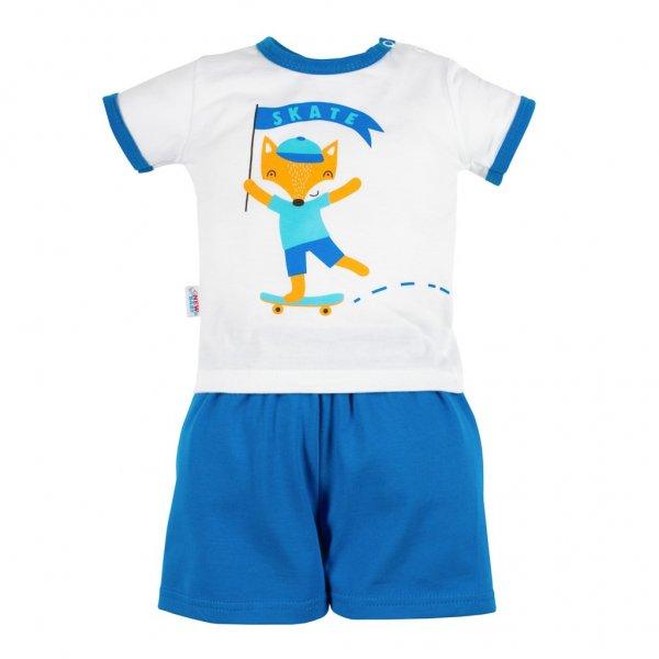 New Baby Kojenecká souprava tričko a kraťásky New Baby Liška Modrá