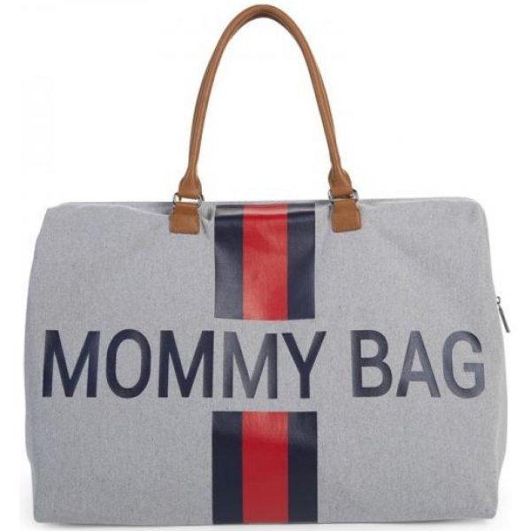Childhome Přebalovací taška Mommy Bag Grey Stripes Red/Blue