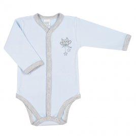 New Baby Kojenecké celorozepínací body New Baby Owl modré