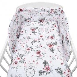 New Baby 3-dílné ložní povlečení New Baby 90/120 cm bílé květy a pírka