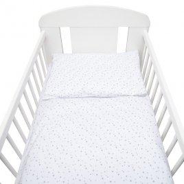New Baby 2-dílné ložní povlečení New Baby 100/135 cm bílé šedé hvězdičky