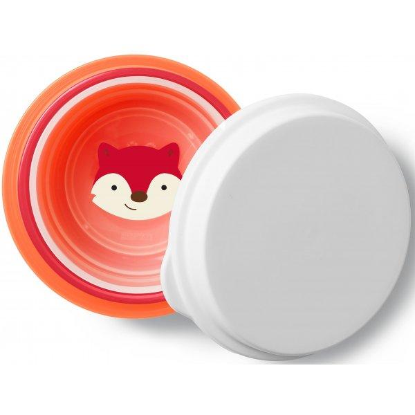 Skip Hop Zoo misky protiskluzové 3 kusy + víko - Liška 6m+ Oranžová