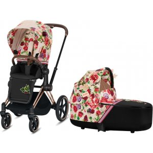 Cybex Kočárek Priam Rose Gold + Seat Pack Spring Blossom + Lux carry cot 2021 LIGHT