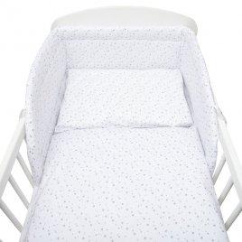 New Baby 3-dílné ložní povlečení New Baby 90/120 cm bílé šedé hvězdičky