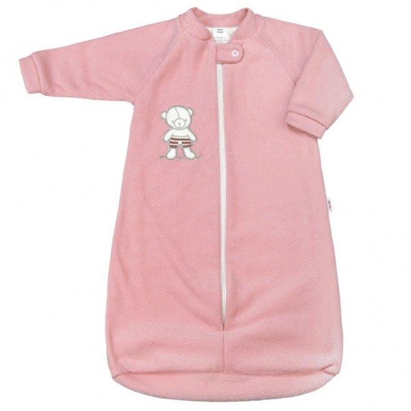 New Baby Kojenecký froté spací pytel New Baby medvídek růžový Růžová