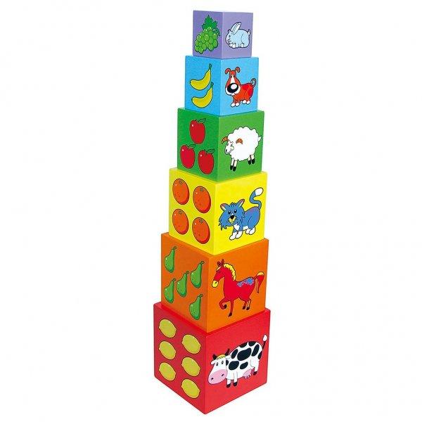 Viga Dřevěná edukační pyramida kostky pro děti Viga Multicolor