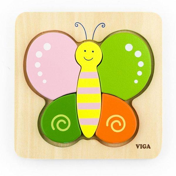Viga Dřevěné puzzle pro nejmenší Viga Motýl Multicolor