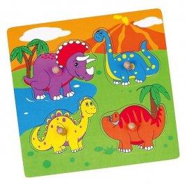 Viga Dřevěné puzzle s úchyty pro nejmenší Viga Dino