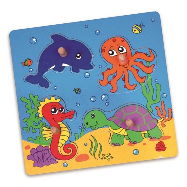 Viga Dřevěné puzzle s úchyty pro nejmenší Viga Moře Multicolor