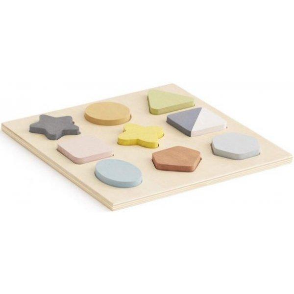 Kids concept Puzzle dřevěné geometrické tvary Béžová
