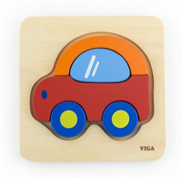 Viga Dřevěné puzzle pro nejmenší Viga Auto Multicolor