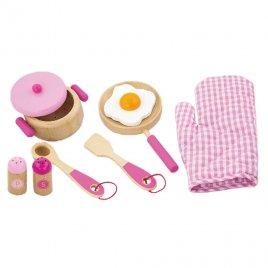 Viga Dětské dřevěné nádobí Viga-snídaně růžové