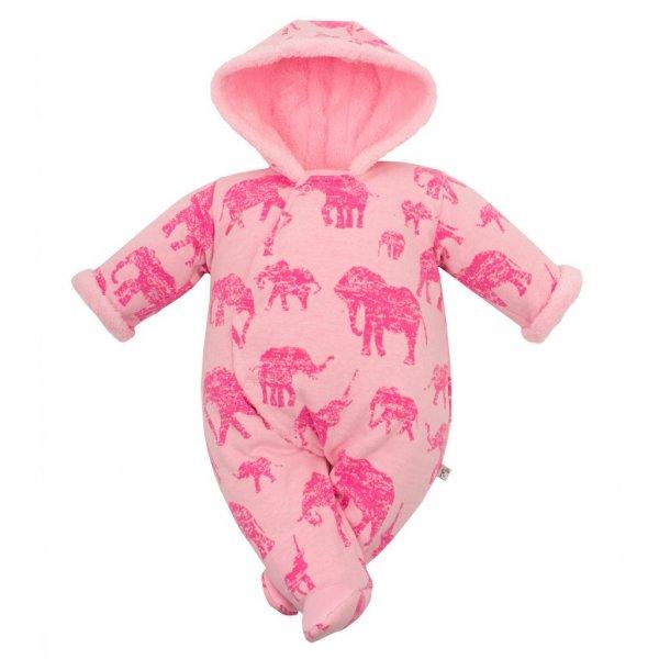 BABY SERVICE Zimní kojenecká kombinéza s kapucí Baby Service Sloni růžová Růžová