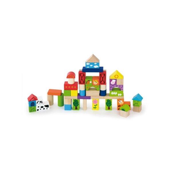 Viga Dřevěné kostky pro děti Viga Farma 50 dílů Multicolor
