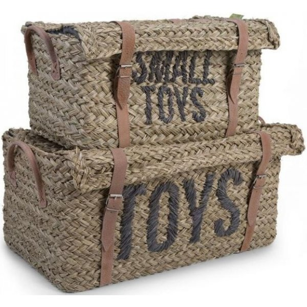 Childhome Slaměné koše na hračky 2 ks Hnědá
