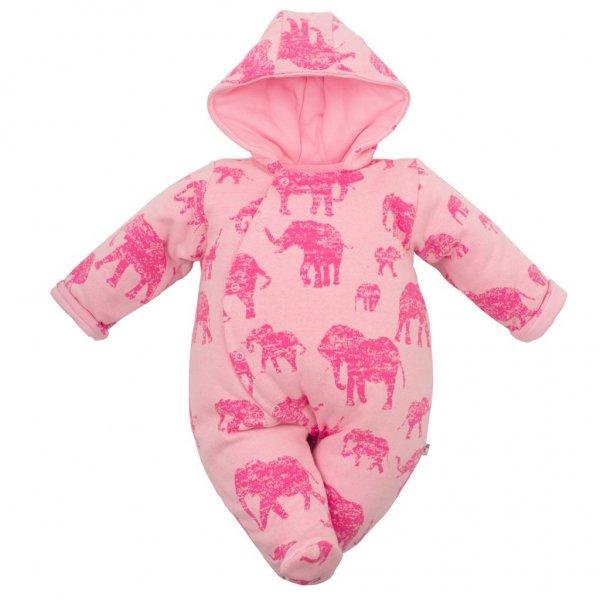 BABY SERVICE Zateplená kojenecká kombinéza s kapucí Baby Service Sloni růžová Růžová