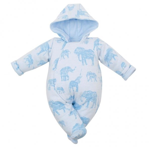 BABY SERVICE Zateplená kojenecká kombinéza s kapucí Baby Service Sloni modrá Modrá