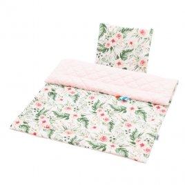 New Baby Oboustranný Set z Velvet do kočárku New Baby květiny růžový