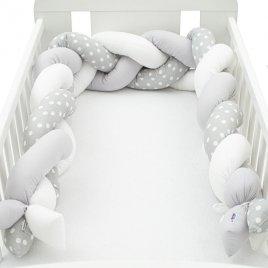 New Baby Ochranný mantinel do postýlky cop New Baby Puntík šedo-bílý