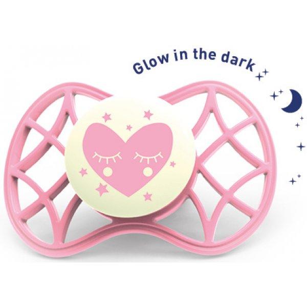 Nuvita Fyziologický dudlík Cool 0m+ svítící ve tmě Cashmere rose