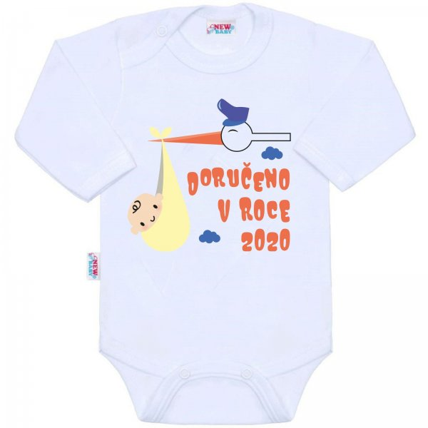 New Baby Body s potiskem New Baby Doručeno v roce 2020 Bílá