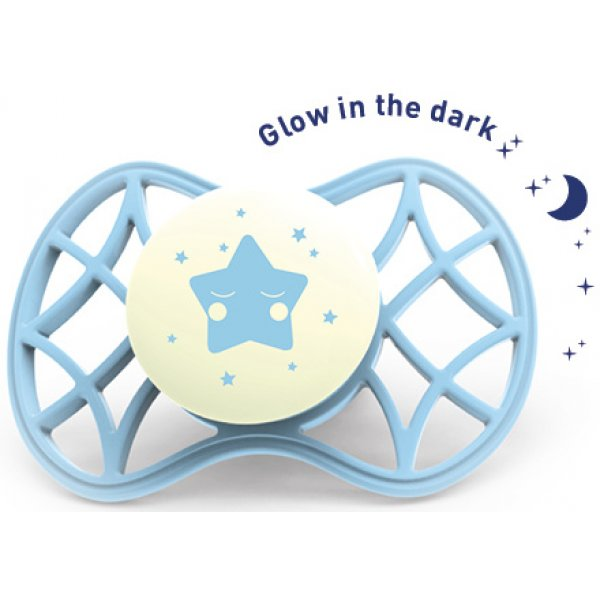 Nuvita Fyziologický dudlík Cool 0m+ svítící ve tmě Aquamarine