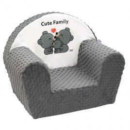 New Baby Dětské křeslo z Minky New Baby Cute Family šedé