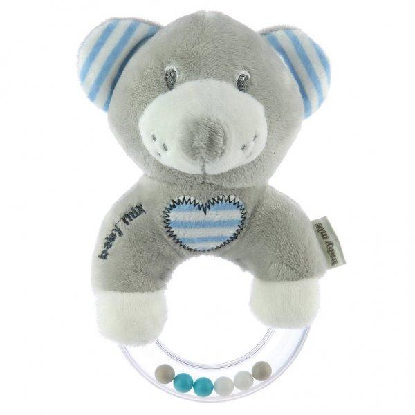 Baby Mix Dětské plyšové chrastítko Baby Mix medvěd modrý Modrá