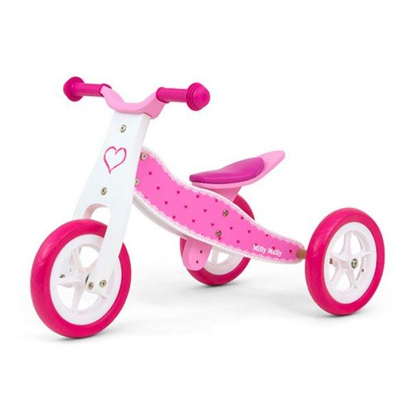 Milly Mally Dětské multifunkční odrážedlo 2v1 Milly Mally Look Hearts Růžová
