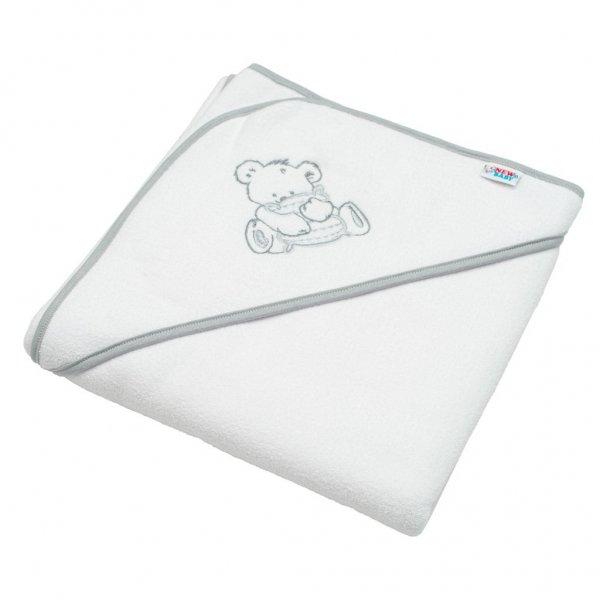 New Baby Dětská froté osuška s výšivkou a kapucí New Baby 80x80 bílá medvěd Bílá