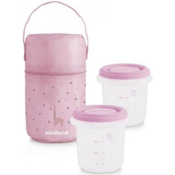 Miniland Termoizolační pouzdro + kelímky na jídlo 2ks Pink