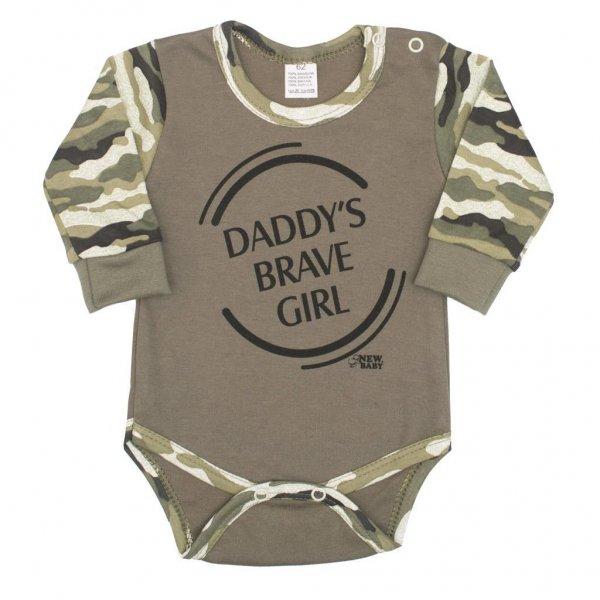 New Baby Kojenecké body s dlouhým rukávem New Baby Army girl Zelená