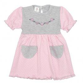 New Baby Kojenecké šatičky s krátkým rukávem New Baby Summer dress růžovo-šedé