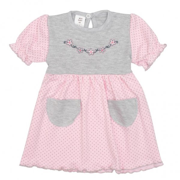 New Baby Kojenecké šatičky s krátkým rukávem New Baby Summer dress růžovo-šedé Růžová
