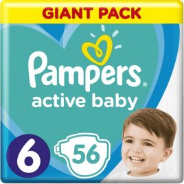 Pampers Plenky Active Baby 6 EXTRA LARGE 16kg+ 56ks