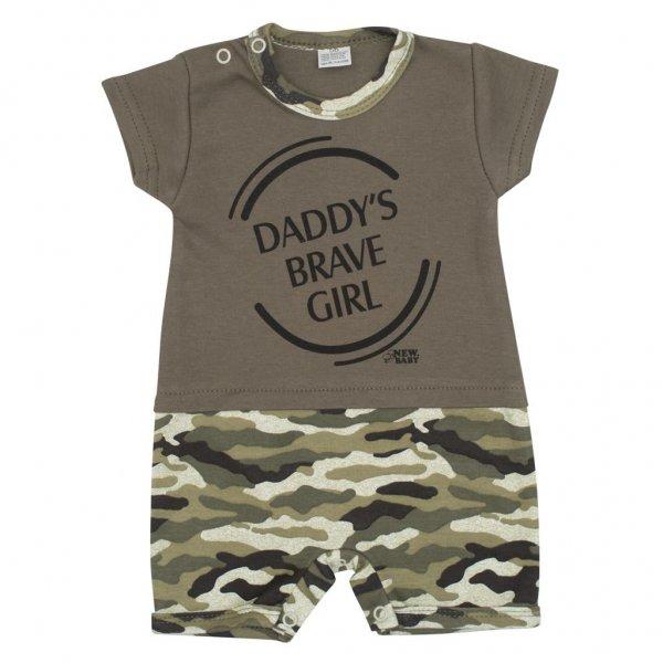New Baby Kojenecký letní overal New Baby Army girl Zelená