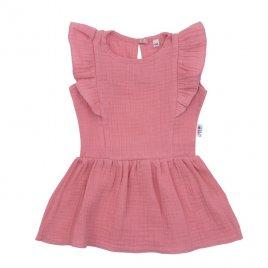 New Baby Kojenecké mušelínové šaty New Baby Summer Nature Collection růžové