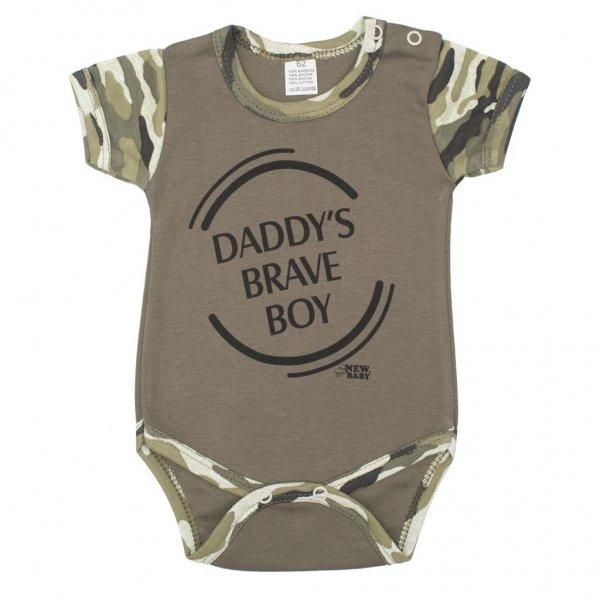 New Baby Kojenecké body s krátkým rukávem New Baby Army boy Zelená