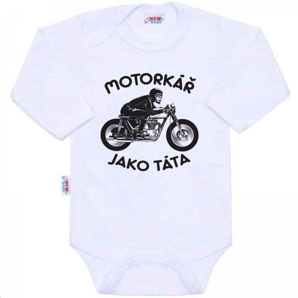New Baby Body s potiskem New Baby Motorkář jako táta Bílá